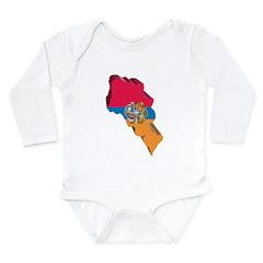 3D Map Of Armenia Long Sleeve Infant Bodysuit