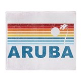 Retro Palm Tree Aruba Throw Blanket