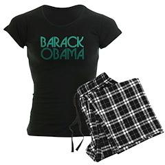 Art Deco Obama Green Women's Dark Pajamas
