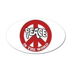 Peace is the word 38.5 x 24.5 Oval Wall Peel