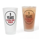9 Years Clean &amp; Sober Pint Glass