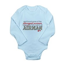 Funny Airman's girlfriend Long Sleeve Infant Bodysuit