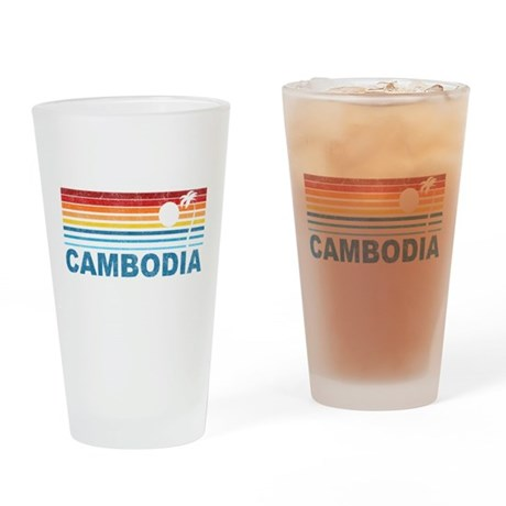 Retro Cambodia Palm Tree Pint Glass