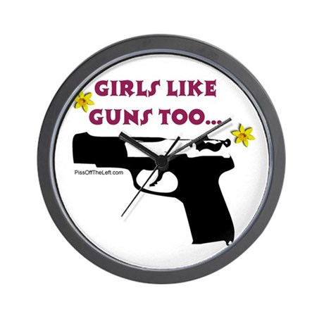 Girls like guns too Wall Clock