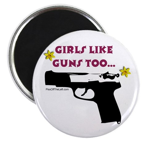 "Girls like guns too 2.25"" Magnet (100 pack)"