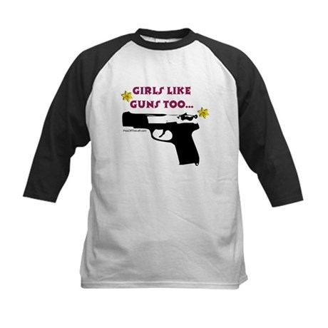 Girls like guns too Kids Baseball Jersey