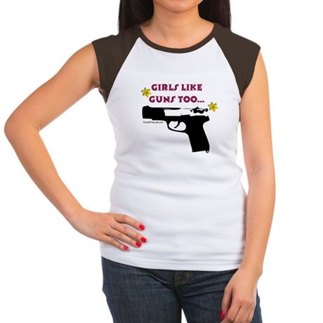Girls like guns too Women's Cap Sleeve T-Shirt