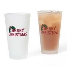 Merry Christmas Holly Pint Glass
