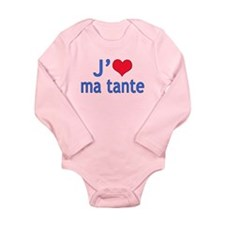 I Love Aunt (French) Long Sleeve Infant Bodysuit