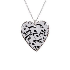 MUSICAL NOTES III Necklace Heart Charm