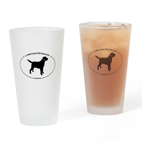 Labrador Oval Text Drinking Glass