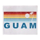 Retro Palm Tree Guam Throw Blanket