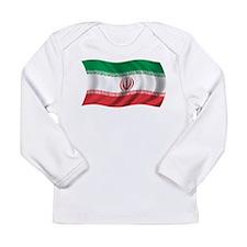 Wavy Iran Flag Long Sleeve Infant T-Shirt