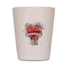 Heart Lebanon Shot Glass