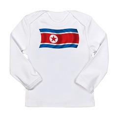 Wavy North Korea Flag Long Sleeve Infant T-Shirt
