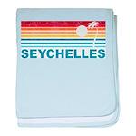 Retro Palm Tree Seychelles baby blanket