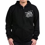 Two wheels move the soul Zip Hoodie (dark)