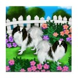 Japanese Chin Dogs Garden Tile Coaster
