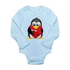 Red Ribbon Scarf Penguin Long Sleeve Infant Bodysu