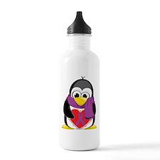 Purple Ribbon Scarf Penguin Sports Water Bottle