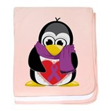Purple Ribbon Scarf Penguin baby blanket