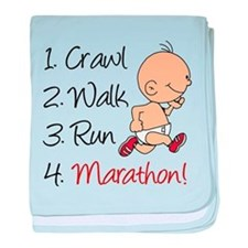 Crawl, Walk, Run Marathon baby blanket