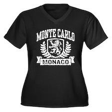 Monte Carlo Monaco Women's Plus Size V-Neck Dark T