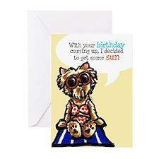 Funny Yorkie Birthday Greeting Cards (Pk of 10)