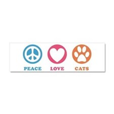 Peace Love Cats [r] Car Magnet 10 x 3