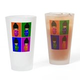 pop art Kawaii Kokeshi Dolls Pint Glass
