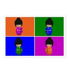 pop art Kawaii Kokeshi Dolls Postcards (Package of