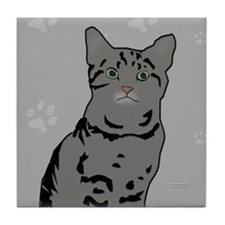 Gray Tabby Kitty Tile Coaster