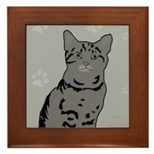 Gray Tabby Kitty Framed Tile