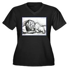 Lion, couple, stunning, Women's Plus Size V-Neck D