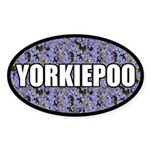 Blue Floral Yorkiepoo Oval Sticker