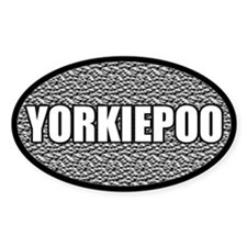 Silver Metallic Yorkiepoo Oval Decal