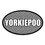 Silver Metallic Yorkiepoo Oval Sticker