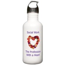 Social Work Heart Water Bottle
