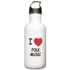 I heart folk music Water Bottle