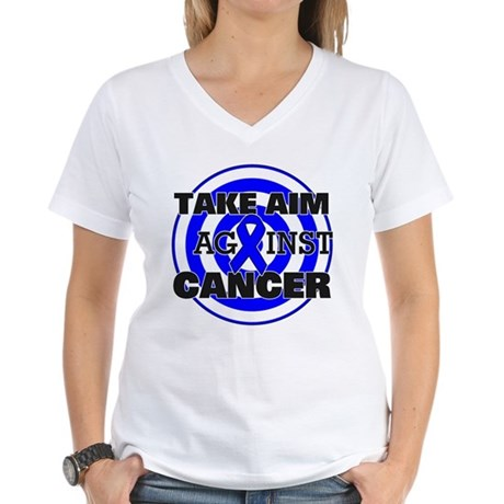 Take Aim - Colon Cancer Women's V-Neck T-Shirt