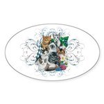 Cuddly Kittens Sticker (Oval)