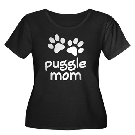 Cute Puggle Mom Women's Plus Size Scoop Neck Dark
