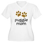 Cute Puggle Mom Women's Plus Size V-Neck T-Shirt