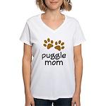 Cute Puggle Mom Women's V-Neck T-Shirt
