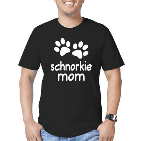 Cute Schnorkie Mom Men's Fitted T-Shirt (dark)