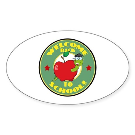 Welcome Back to School Worm Sticker (Oval)