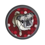Mod Pug Wall Clock