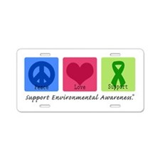 Peace Love Environment Aluminum License Plate