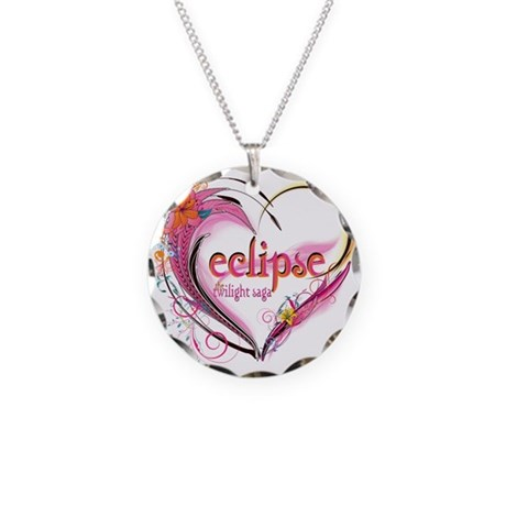 Eclipse Heart Necklace Circle Charm