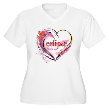 Eclipse Heart Women's Plus Size V-Neck T-Shirt